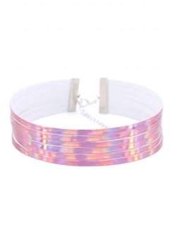 6 Layer Pink Holographic Choker