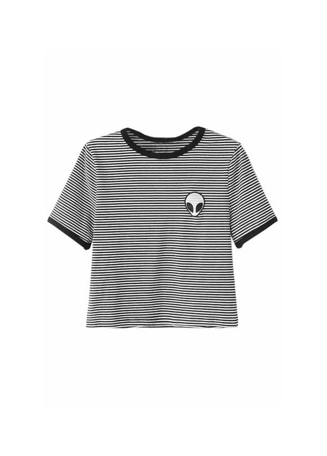 Attitude Clothing Alien Striped Ringer T-Shirt