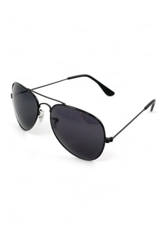 Attitude Clothing All Black Aviator Sunglasses