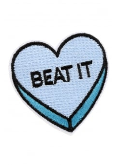 Beat It Heart Iron-On Woven Patch