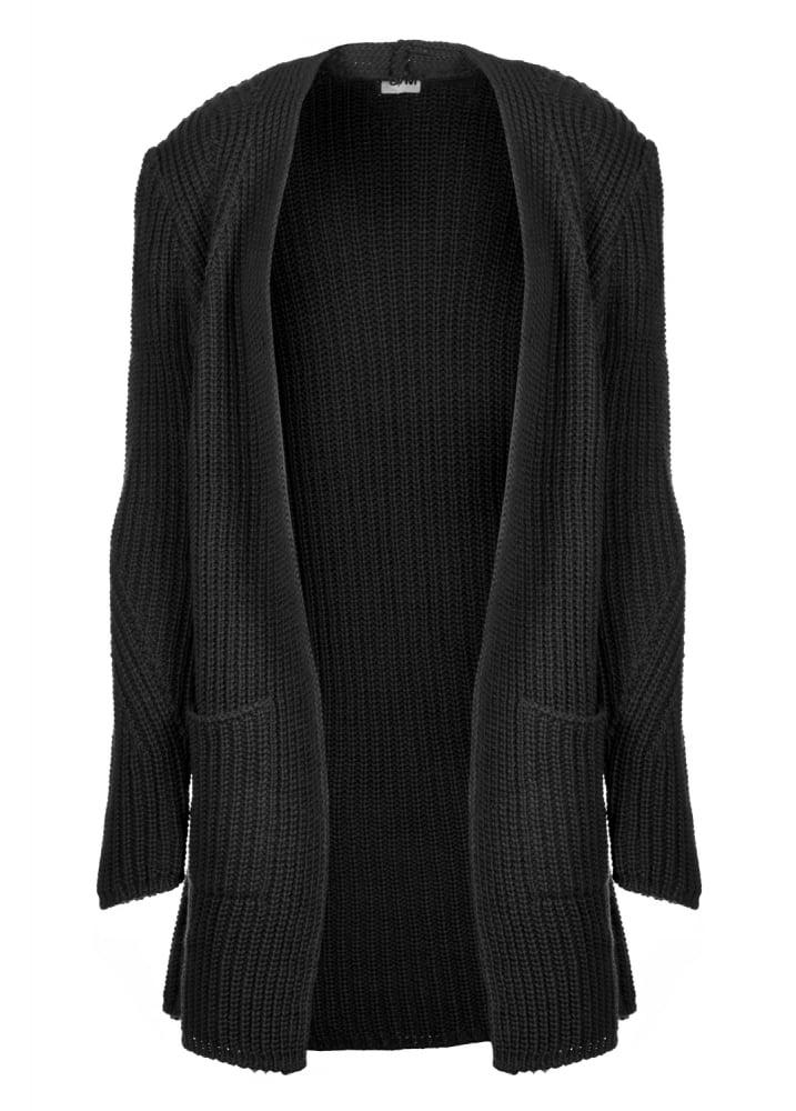 Black Chunky Knit Cardigan | Attitude Clothing