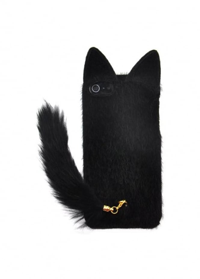 Attitude Clothing Black Fluffy Cat Tail iPhone 6/6S/7 Case