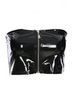 Black Gloss Zip Tube Top