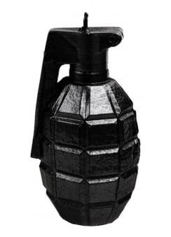 Black Metallic Grenade Candle