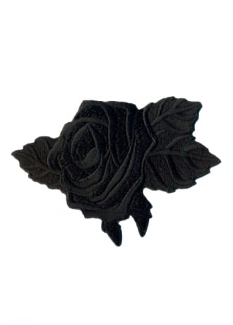 Attitude Clothing Black Rose Iron-On Woven Patch