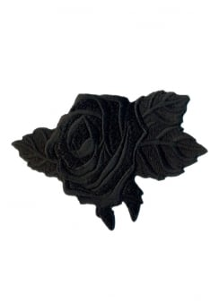 Black Rose Iron-On Woven Patch