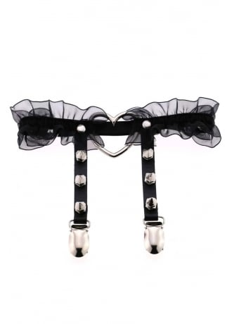 Attitude Clothing Black Studded Heart Ring Frill Garter