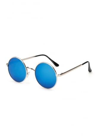 Attitude Clothing Blue Mirror Round Lens Sunglasses