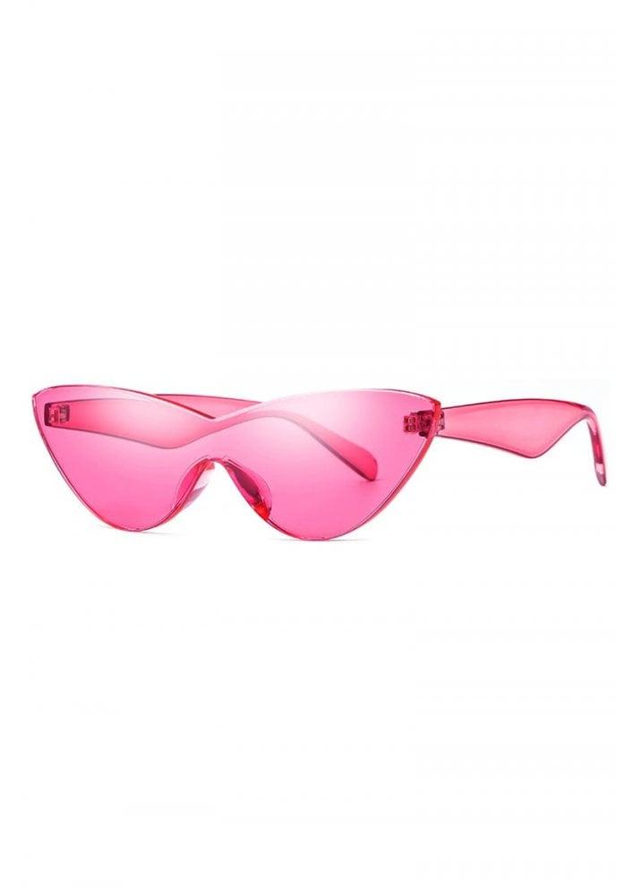 acdc9ca2c6314 Candy Pink Futuristic Cat Eye Sunglasses