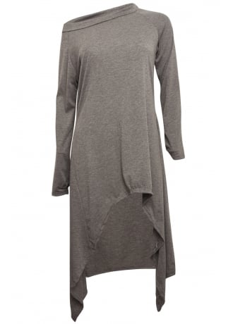 Attitude Clothing Charcoal Asymmetrical Extra Length Top