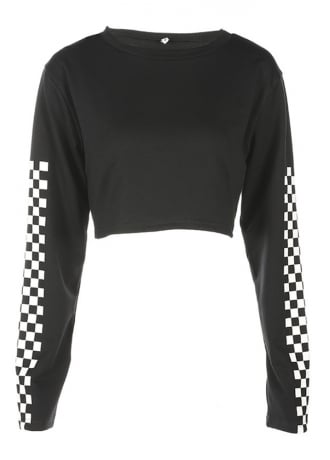 Attitude Clothing Checkerboard Sleeve Crop Top