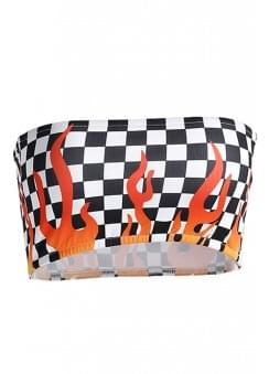 Checkered Flame Bandeau Top