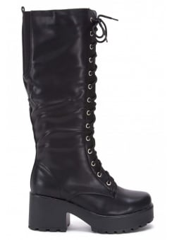 Chunky Lace-Up Knee Boot