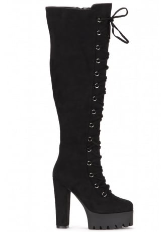 Attitude Clothing Corset Lace-Up Over The Knee Boot