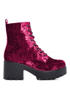 Crushed Velvet Military Boot
