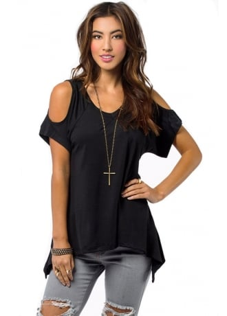 Attitude Clothing Cut Out Shoulder Top