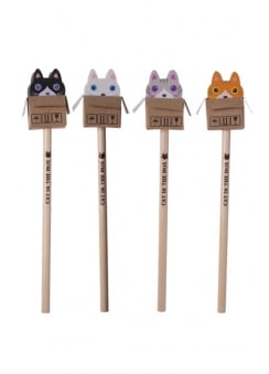 Cute Cat Pencil With Eraser Top