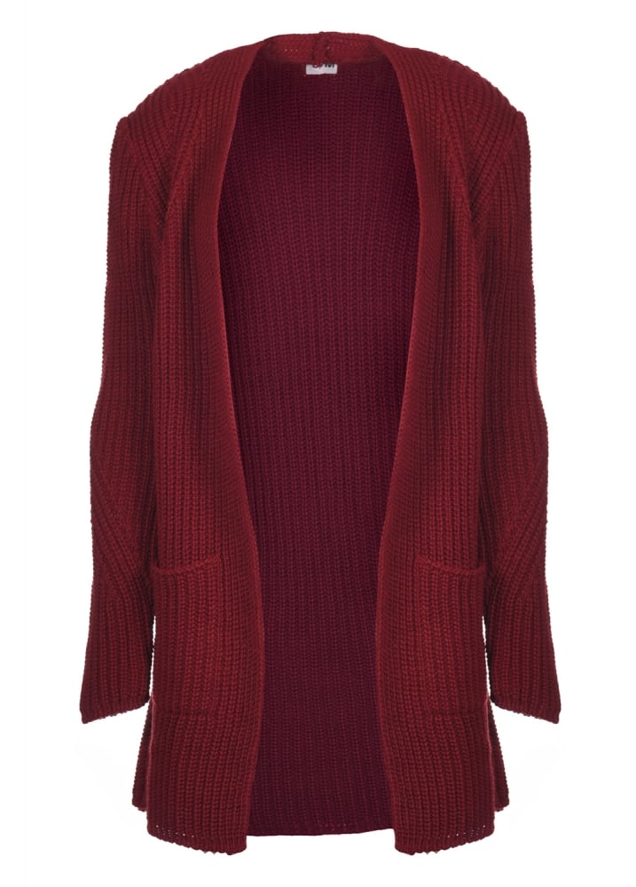 Dark Red Chunky Knit Cardigan | Attitude Clothing