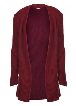 Dark Red Chunky Knit Cardigan