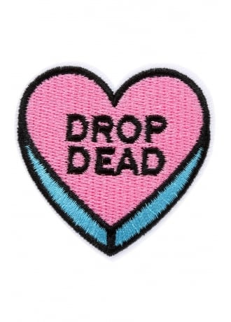 Attitude Clothing Drop Dead Heart Iron-On Woven Patch