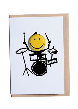 Attitude Clothing Drummer Happy Days Greetings Card