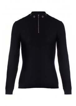 Eyelet Zip Neck Jumper