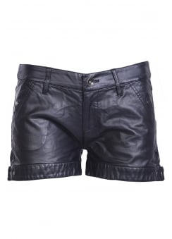 Faux Leather Biker Shorts