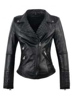 Faux Leather Studded Moto Jacket