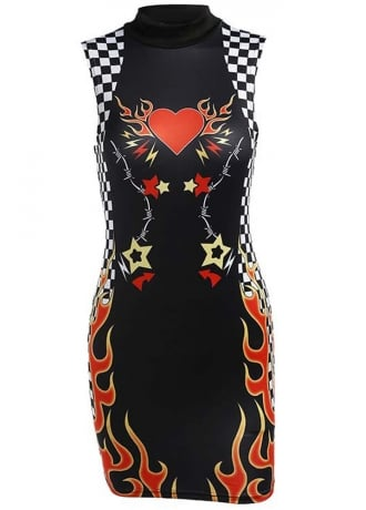 Attitude Clothing Flaming Heart Checkerboard Mini Dress