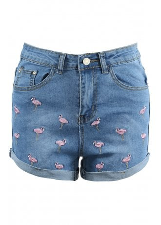 Attitude Clothing Flamingo Embroidered Denim Shorts
