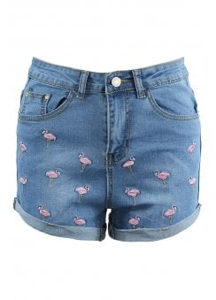 Flamingo Embroidered Denim Shorts
