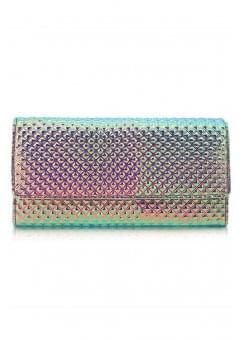 Geometric Metallic Long Fold Purse