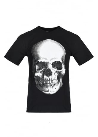 Attitude Clothing Glitter Skull Fitted T-Shirt