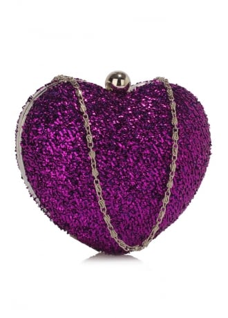 Attitude Clothing Glittery Hardcase Heart Clutch Bag