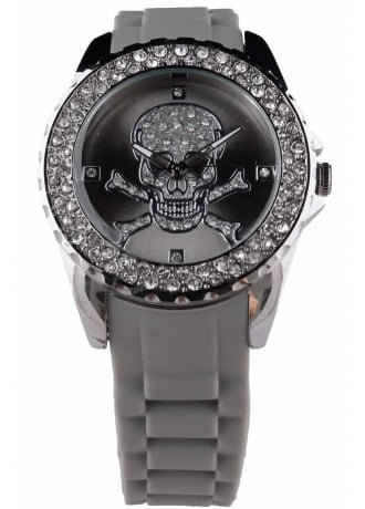 Attitude Clothing Grey Diamante Skull Watch