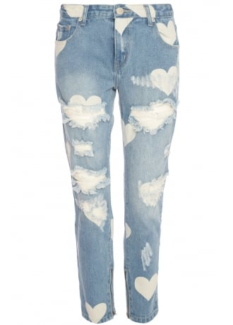 Attitude Clothing Heart Print Ripped Jeans