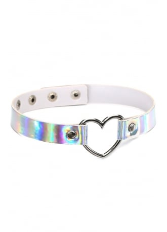 Attitude Clothing Holographic Heart Ring Choker