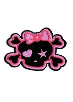 Kawaii Bow Skull Iron-On Woven Patch