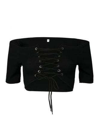 Attitude Clothing Lace-Up Crop Top