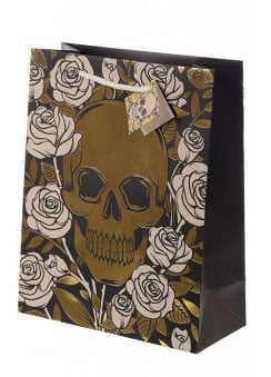 Large Metallic Skulls & Roses Gift Bag