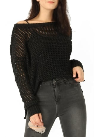 Attitude Clothing Laser Cut Knitted Jumper
