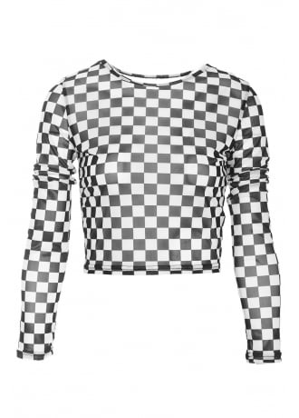 Attitude Clothing Mesh Checkerboard Top