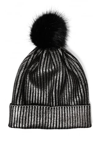 Attitude Clothing Metallic Rub-Off Bobble Hat