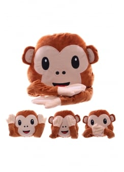 Monkey Emoji Plush Cushion
