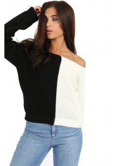 Monochrome Block Knit Jumper