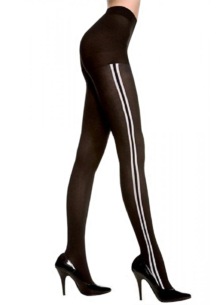 00de4b9cbae Opaque Tights With White Side Stripes