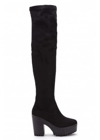 Attitude Clothing Over The Knee Gothic Chunky Platform Boot