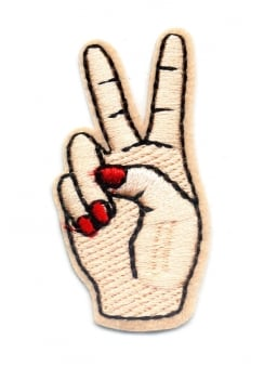 Peace Fingers Iron-On Woven Patch