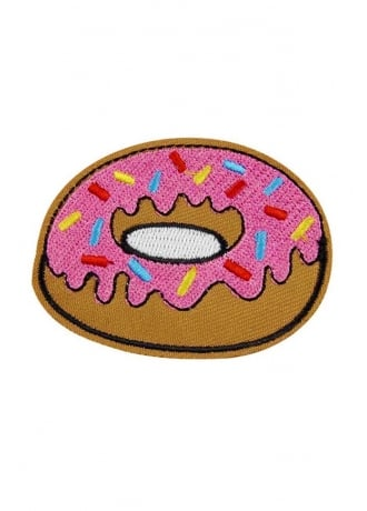 Attitude Clothing Pink Donut Iron-On Woven Patch