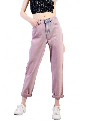 Attitude Clothing Pink High Waist Mom Jeans